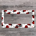 Sweet red ladybugs fine lettering design license frame